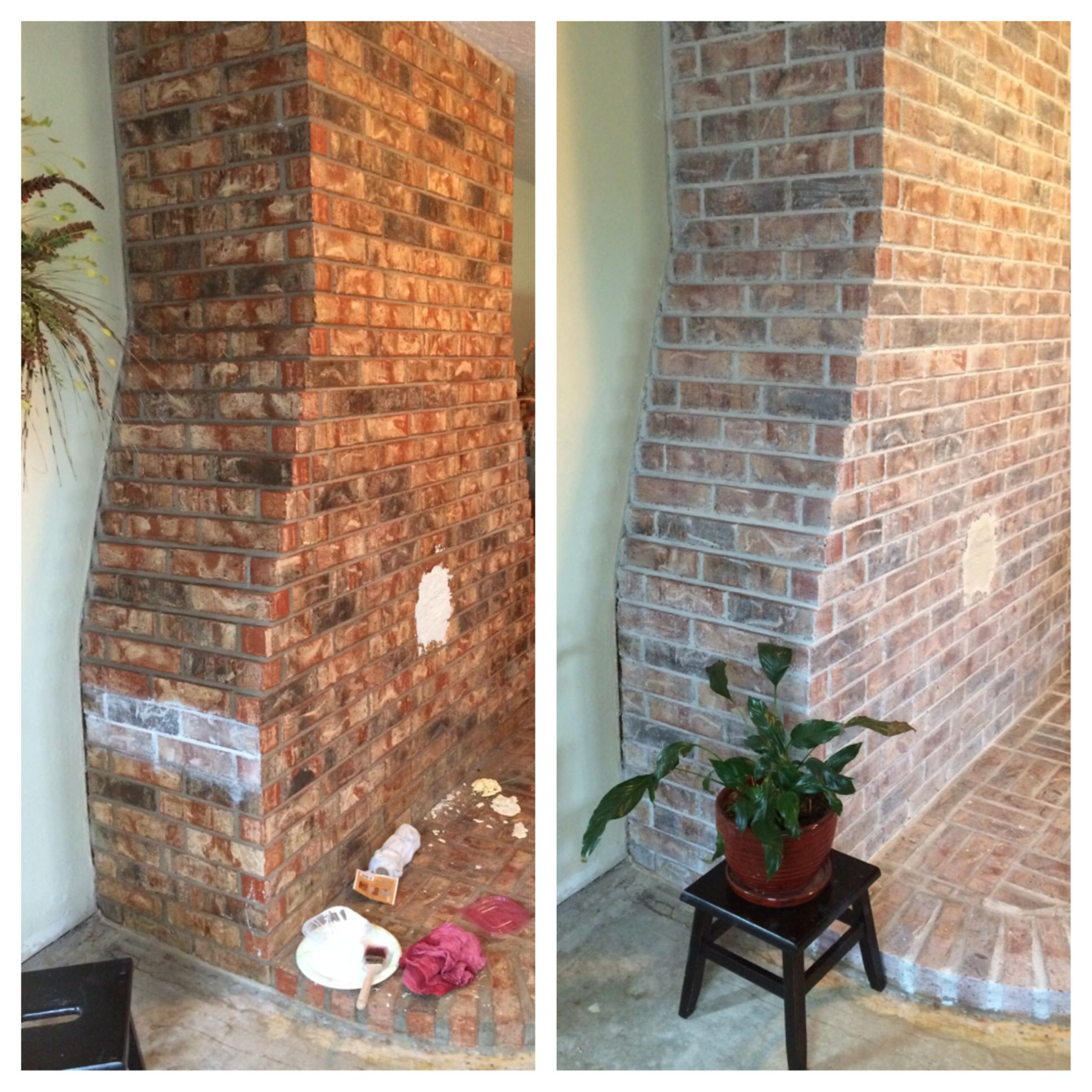 White Washed Brick Before After Living Room Remodel