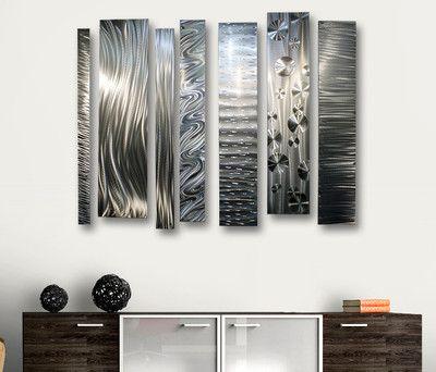 Modern Abstract Silver Metal Wall Art Decor Sculpture \