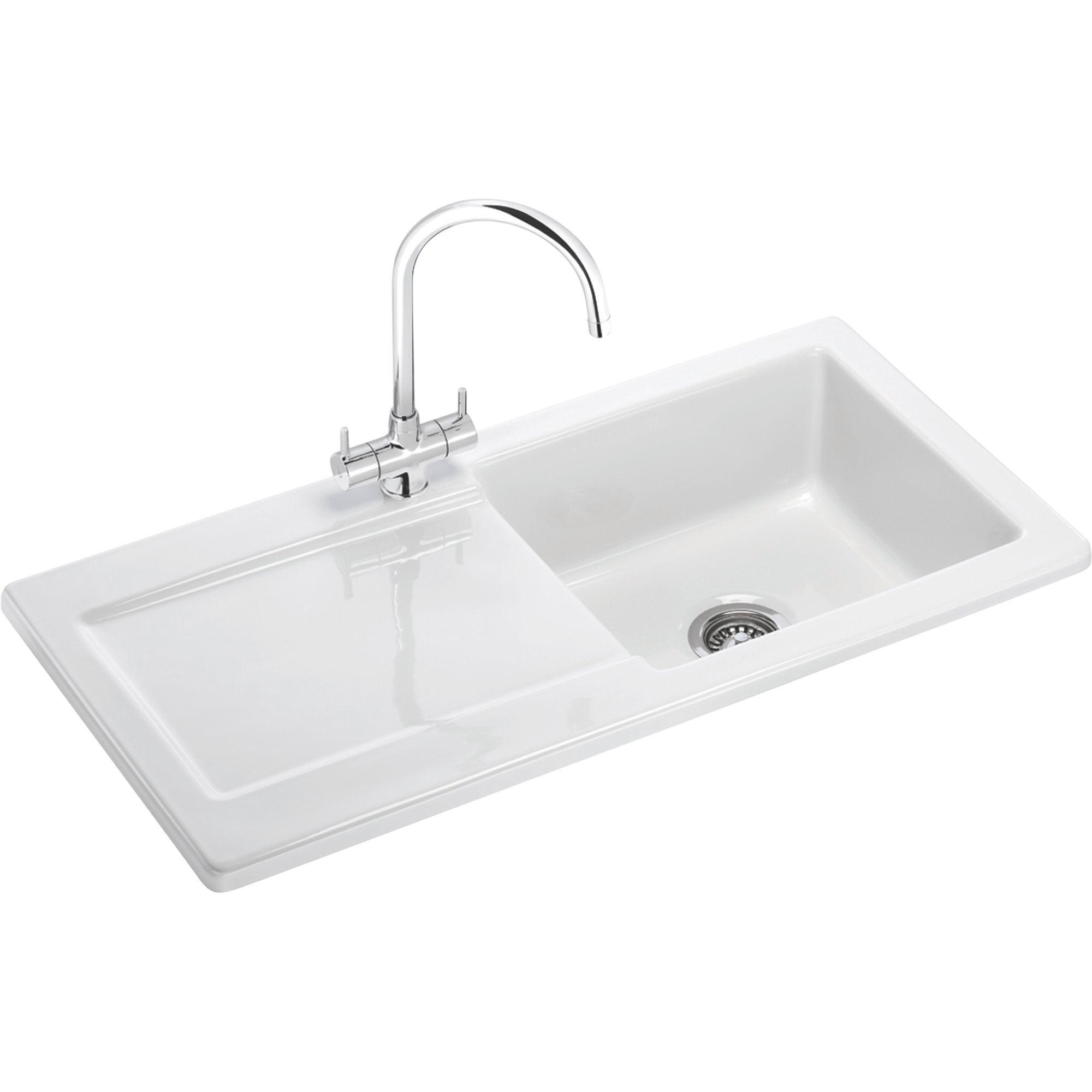 Franke Livorno 1 Bowl White Gloss Ceramic Kitchen Sink Departments Diy At B Q Sinks