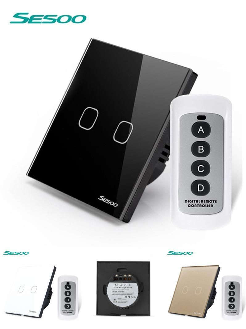 Visit To Buy Sesoo Eu Uk Standard 2 Gang 1 Way Wireless Remote Control Light Switches 220v Touch Switch Rf4 Remote Control Light Light Switch Home Automation
