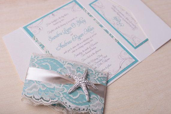 Starfish Wedding Invitation Kit: SANDY Beach Wedding Invitation TIffany Blue By