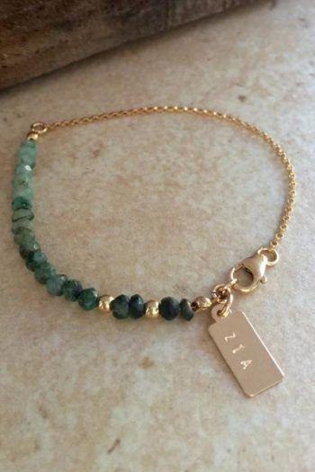 Photo of Green Glass Wire Wrapped Bracelet With Swarovski Crystals