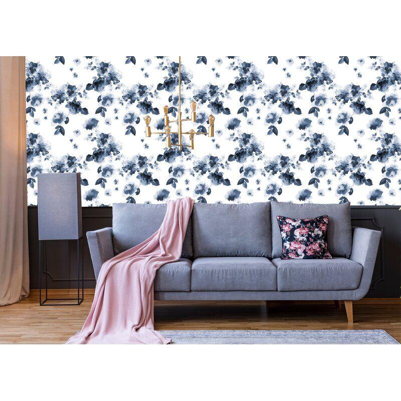 Prochniak Smoky Flowers 10 L X 24 W Peel And Stick Wallpaper Roll Wallpaper Roll Peel And Stick Wallpaper Hand Drawn Flowers