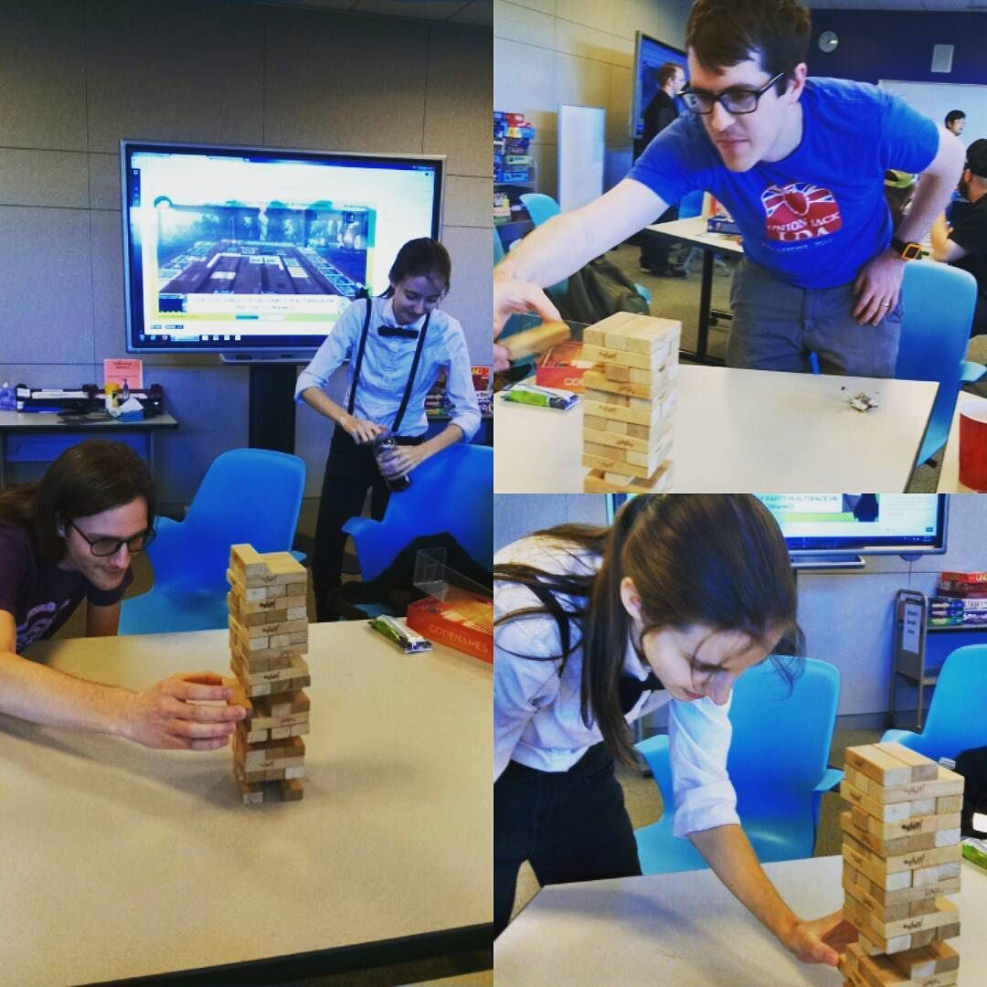 The look of concentration. #jenga #tabletopday #sjsulibrary #games #gaming by instantiatethis