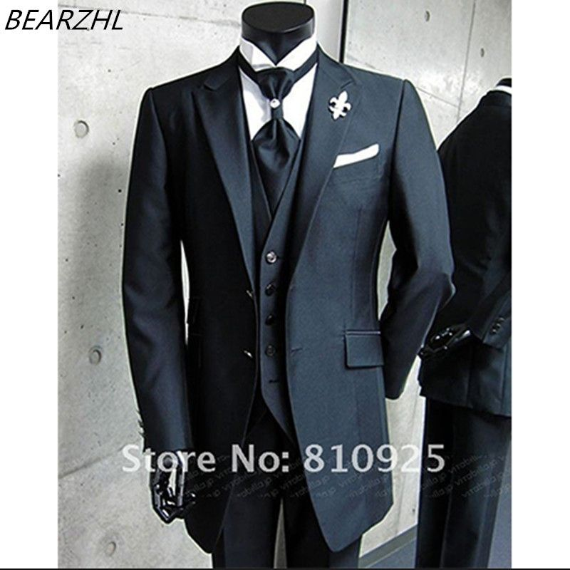 2016 custom made suits men groom tuxedo high quality 3 piece suit ...