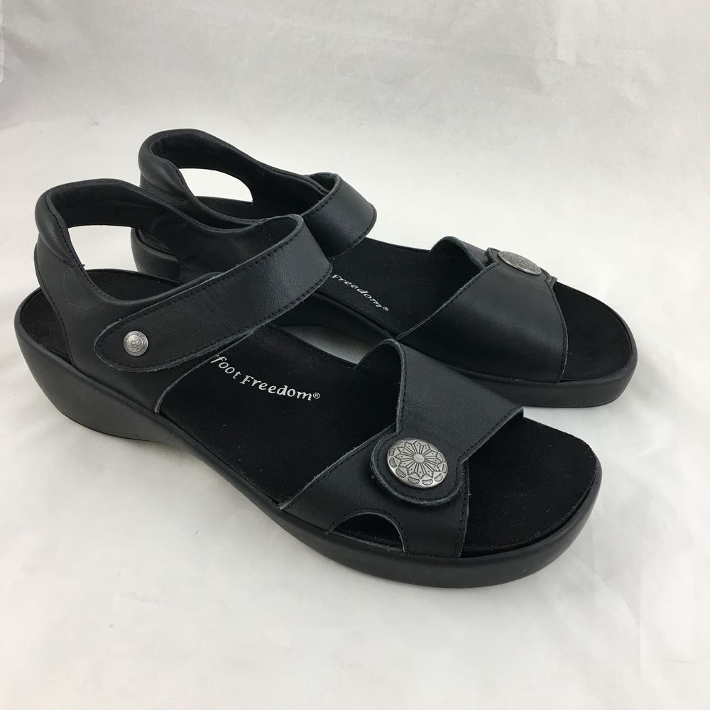d96261cc498780 Drew Barefoot Freedom Andi Sandal Womans 9 M Black Leather Removable Insole   Drew  AnkleStrap
