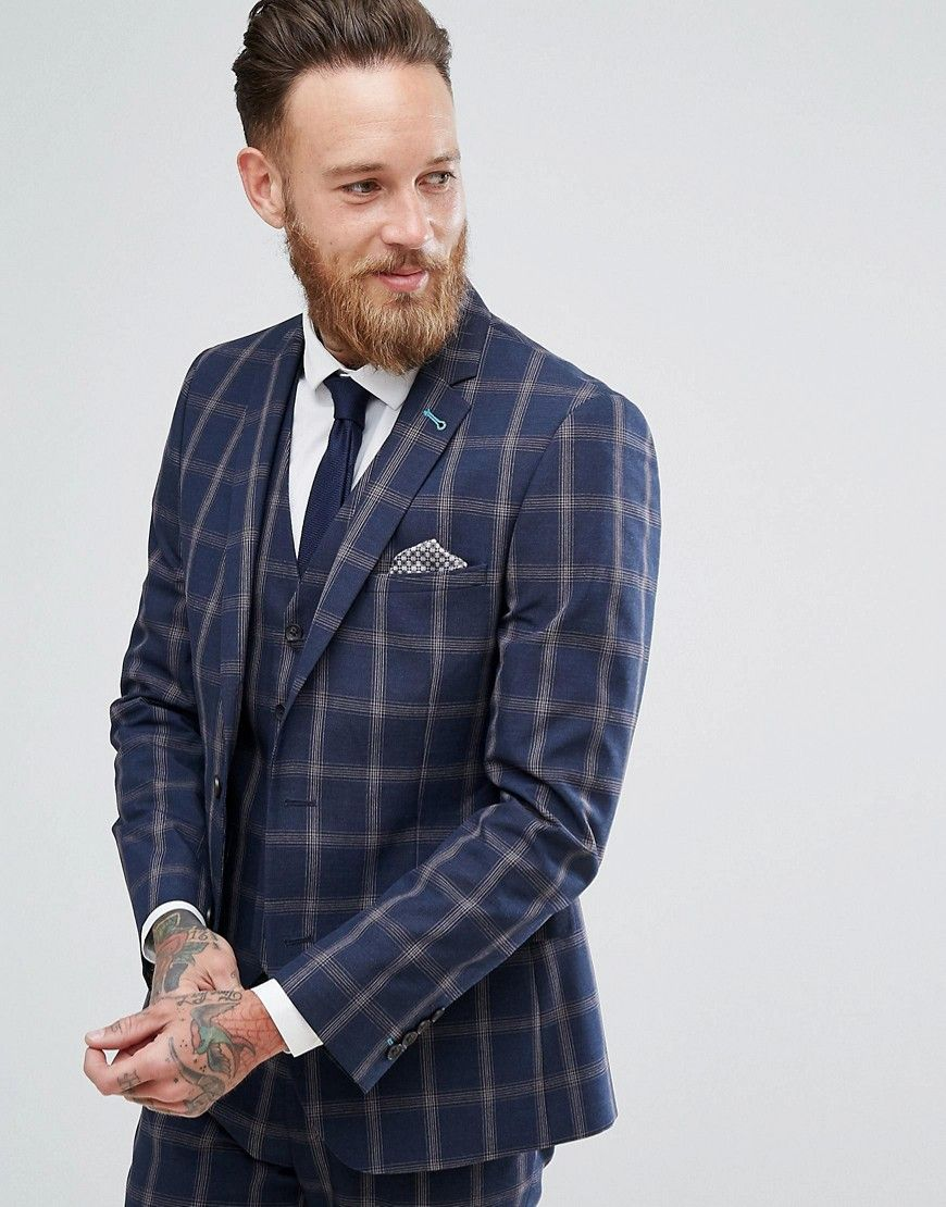 4459946e2c8ab Harry Brown Slim Fit Blue Check Windowpane Suit Jacket - Navy