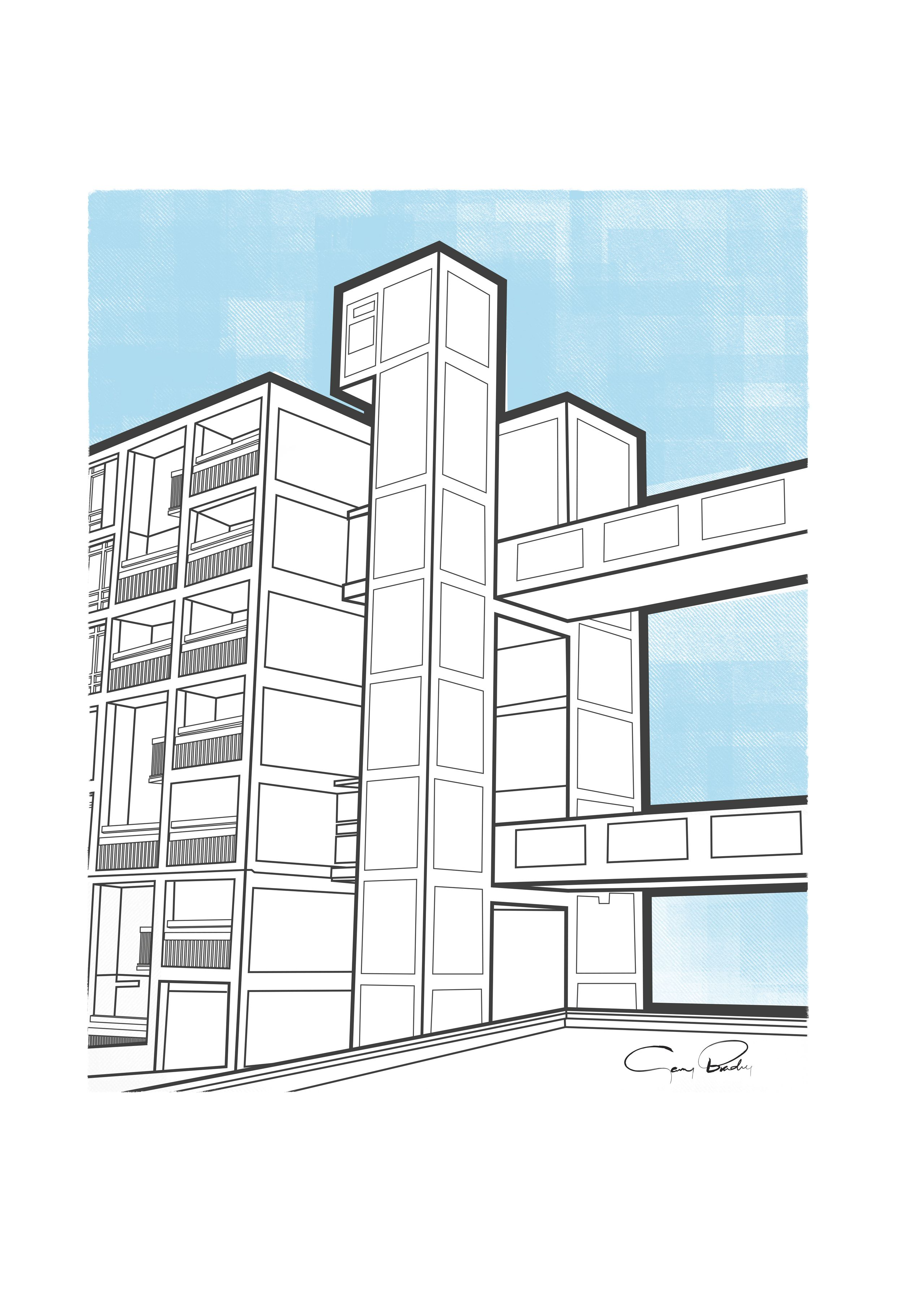 Daily Doodle 1 The Park Hill Flats In Sheffield This Artwork Is Created In Adobe Illustrator Park Hill Architecture Presentation Design