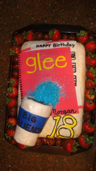 Glee Themed Cake for Morgan - actually, Morgan doesn't really like cake so it was rice krispie treats surrounded by chocolate covered strawberries and cherries :)