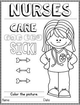 Community Helpers Nurse Coloring
