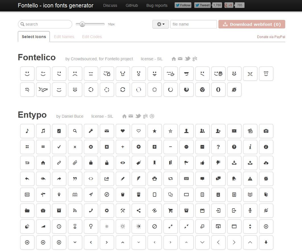 Fontello easy iconic fonts composer scalable graphics