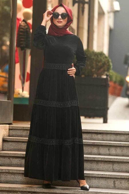 Photo of Neva Style – Desenli Siyah Tesettür Elbise 22691S