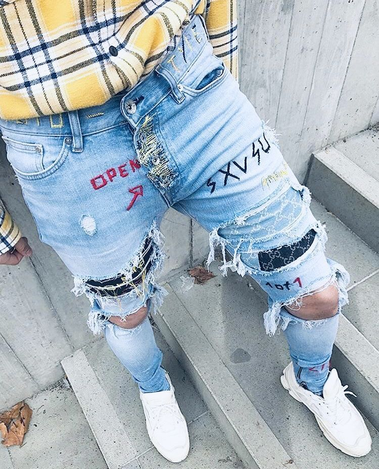 MensJeans | White jeans men, Mens vest fashion, Ripped jeans men