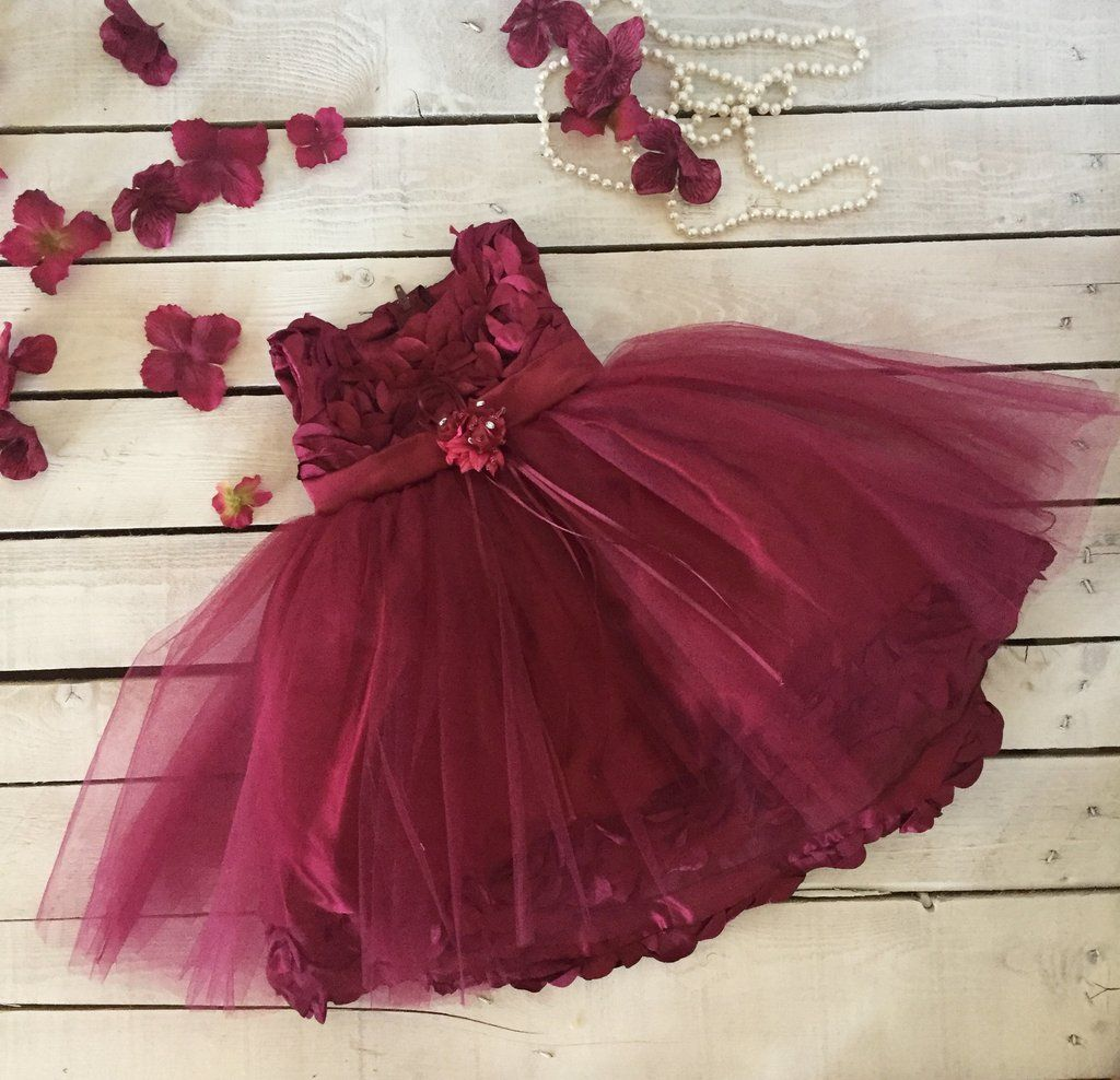 ffe745d5cc7 Red Wine Burgundy Rosette and Tulle Baby Dress