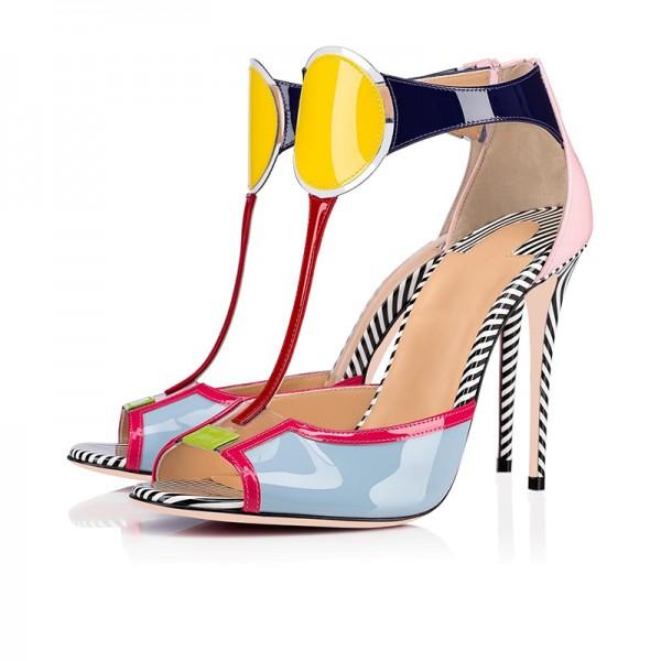 Multicolor Patent Leather T Strap Heels Sandals for Party, Dancing club | FSJ #strappyheels #strappysandals #barefootsandals#highheels #sexyshoes #heelsaddict #instaheels #shoelove #loveheels #shoesaddict #shoesaholic #summerheels #summershoes#shoeaddict #heelsaddict #shoelover #shoelove #shoesday #instaheels #designershoes #shoetrends #iloveheels #iloveshoes #laceupheels