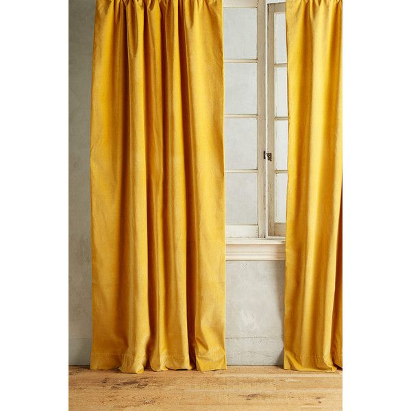Anthropologie Matte Velvet Curtain 238 Liked On Polyvore Featuring Home Decor Window Treatments Curtains Gold