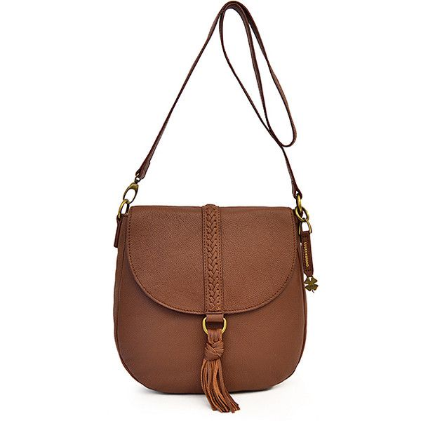 Lucky Brand Brandy Tassel-Accent Ali Flap Leather Crossbody Bag ($58) ❤ liked on Polyvore featuring bags, handbags, shoulder bags, woven-leather handbags, brown shoulder bag, shoulder strap bags, leather crossbody and brown crossbody purse