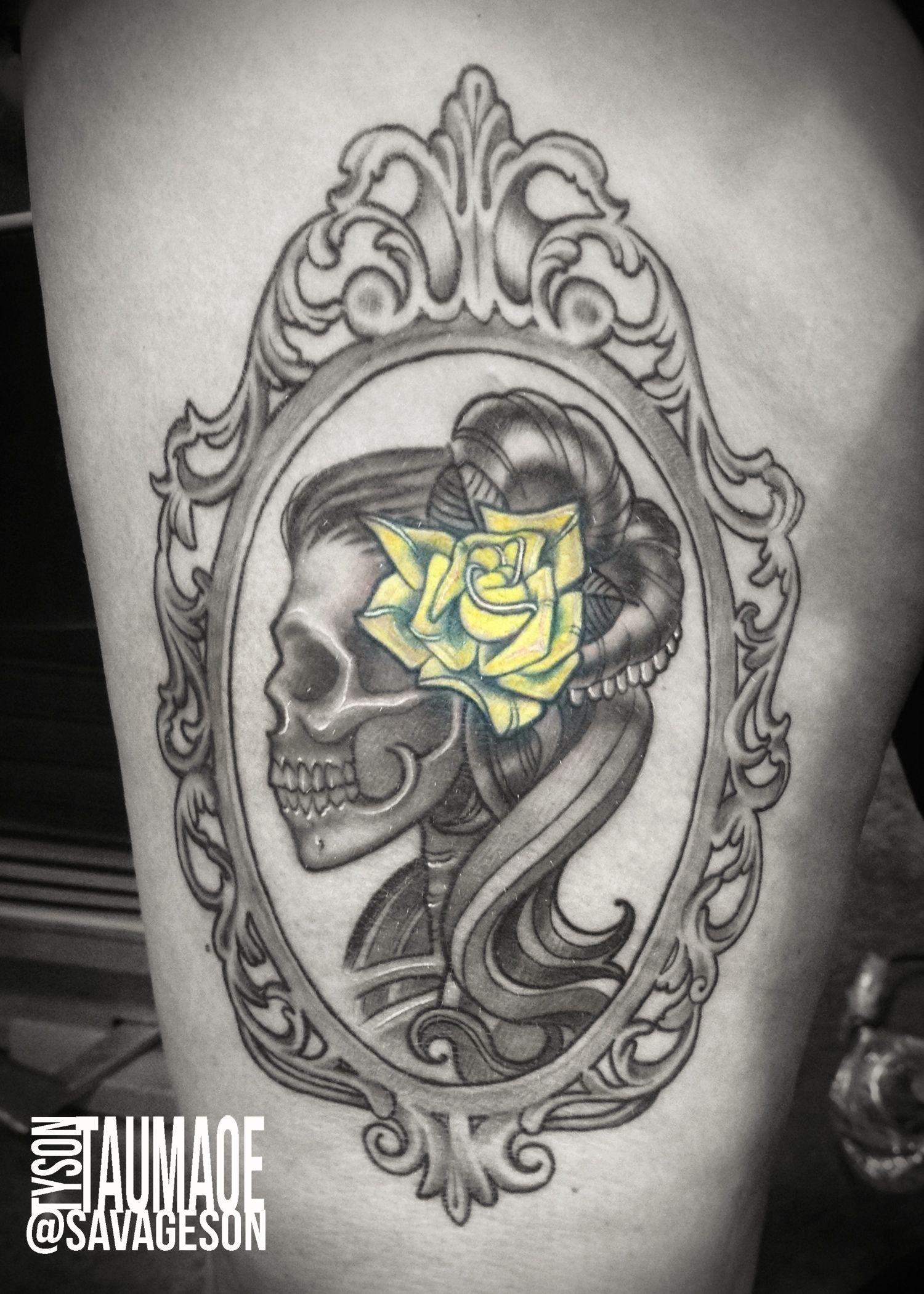 ornate frame tattoo black lady skull with ornate frame yellow rose studio21tattoo tattoos