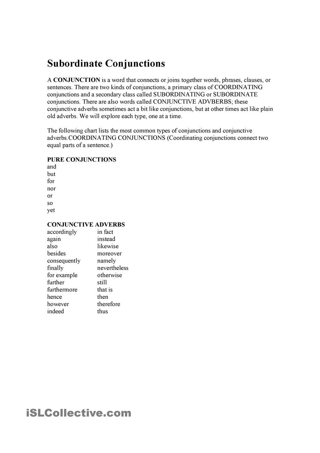 Workbooks worksheets on kinds of adverbs : Conjunctions | Conjunctions | Pinterest | Conjunctive adverb ...