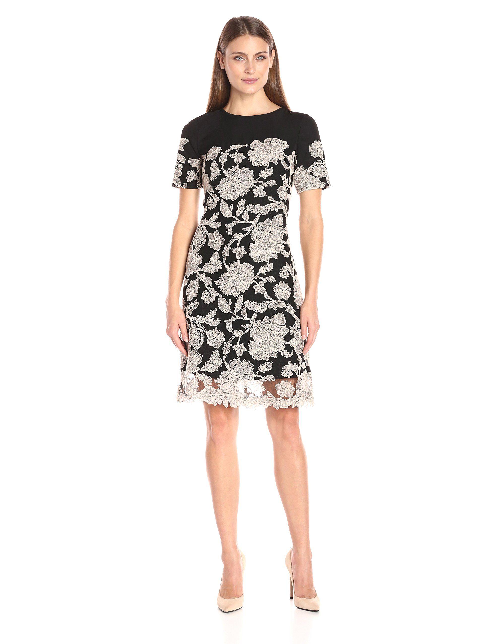 Tadashi shoji womenus shortsleeve dress in neoprene with peony lace