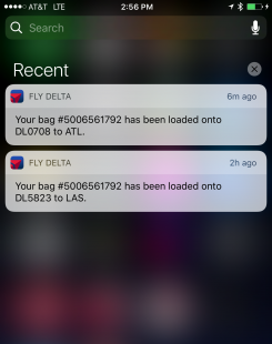 Delta launches Push Notifications for Bag Tracking. The