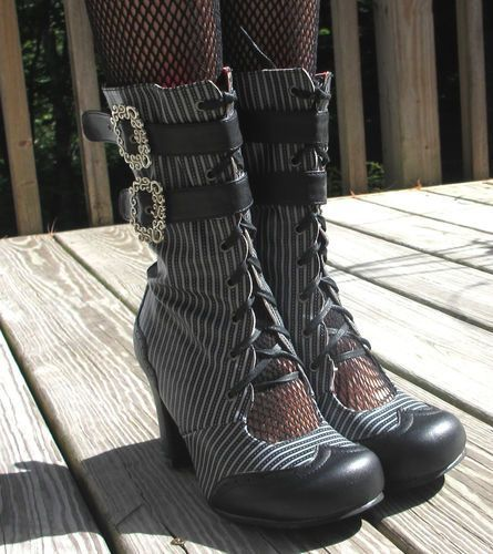 TUK STEAMPUNK Pinstripe Neo-Victorian Open Ghillie GRANNY Boots Lace & Buckle | eBay