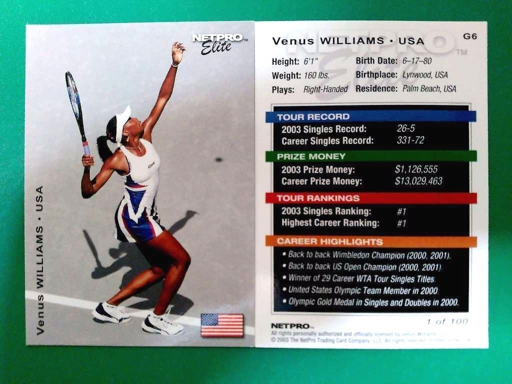 Tennis Cards 43371: 2003 Netpro Tennis Cards Elite Venus Williams Lot Of 6 - 1 Of 100 Made -> BUY IT NOW ONLY: $35 on eBay!