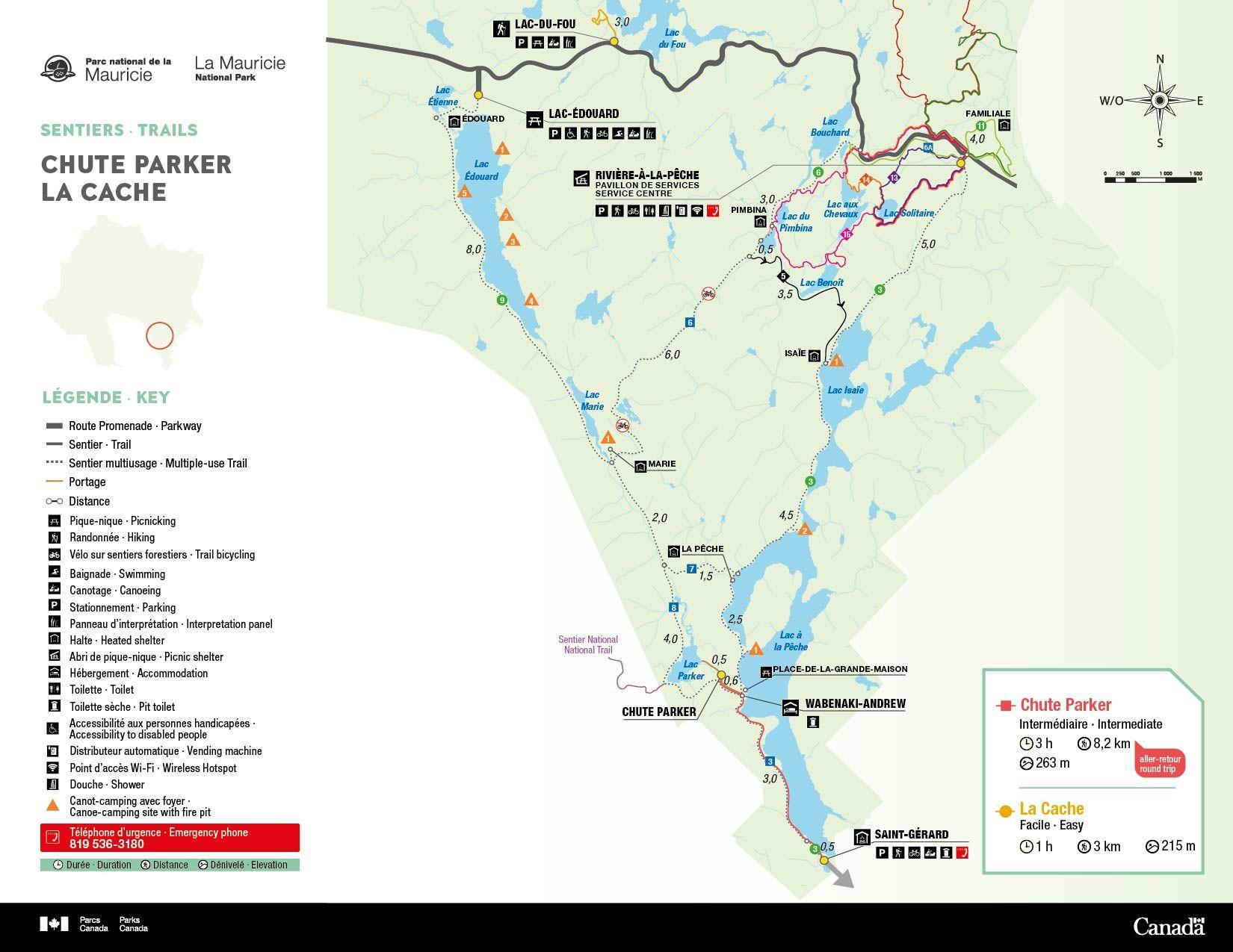 Cartes Des Sentiers De Randonnee Parc National De La Mauricie