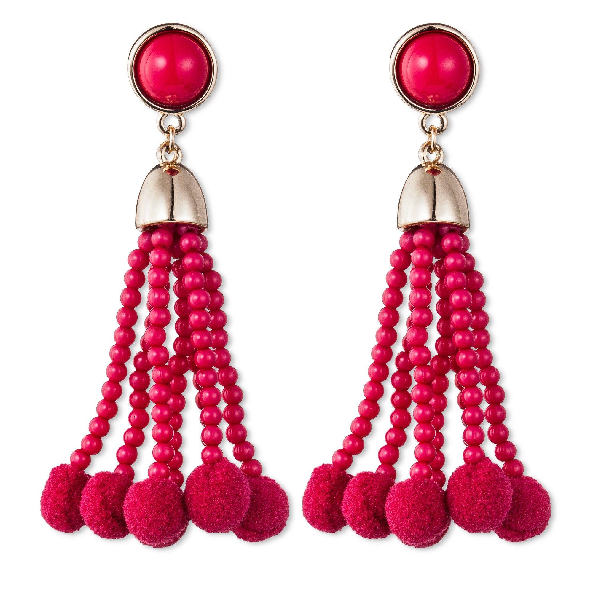 Sugarfix by BaubleBar Beaded Tassel Earrings with Pom Poms