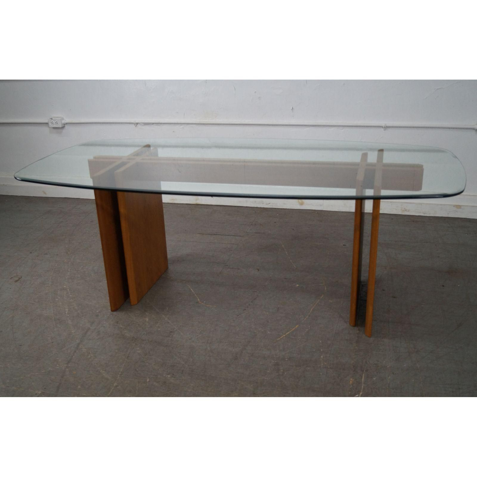 gustav gaarde contemporary danish modern teak glass dining table