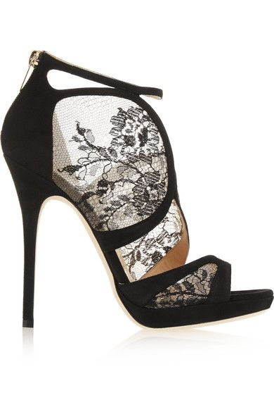 66a25d98a6aa Heel measures approximately 120mm  5 inches Black lace and suede Zip  fastening along back