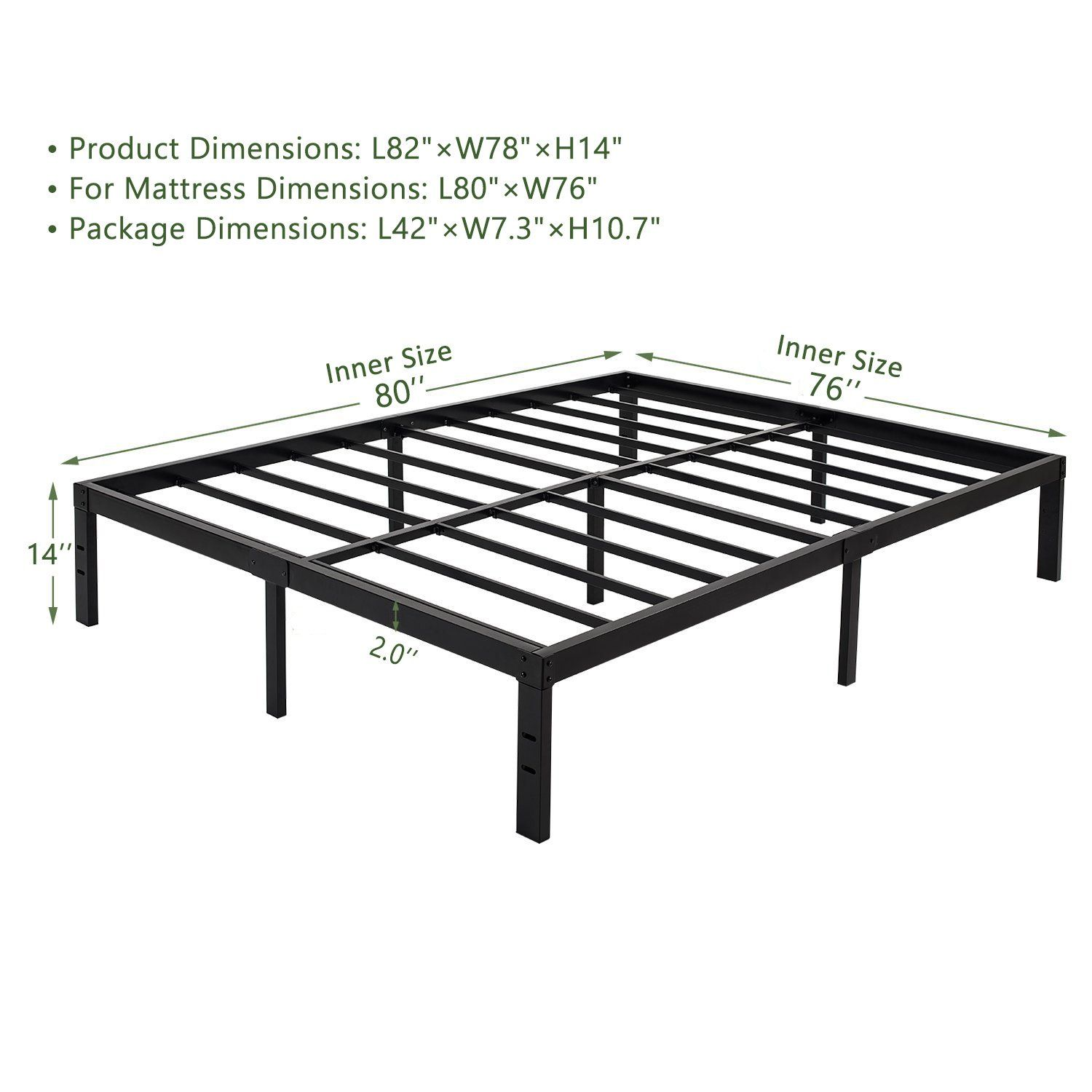 45min 14 Inch Platform Bed Frame Easy Assembly Mattress Foundation