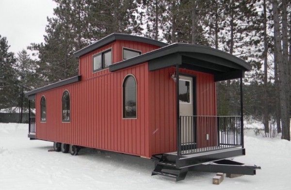This Caboose-Style Tiny House Has An Amazing Interior ... on caboose home plans, bobber caboose model plans, caboose interior plans, caboose construction plans, caboose diy plans, caboose cabin plans, caboose shed plans,