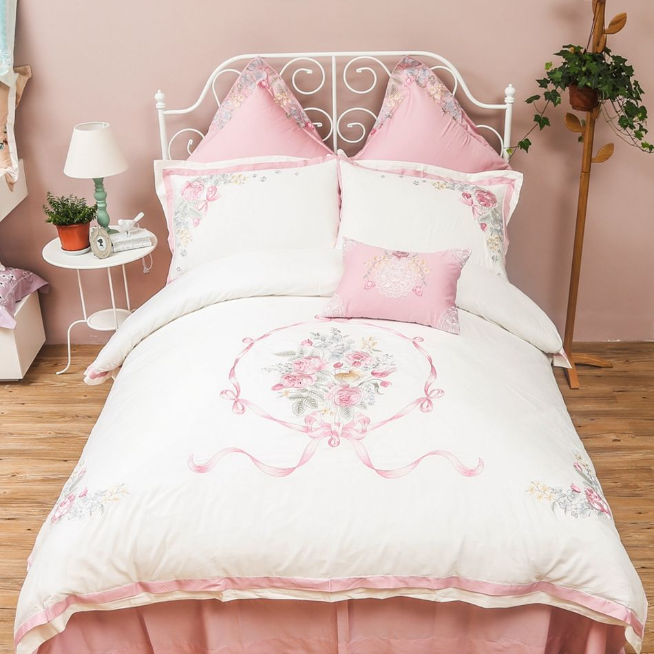 White And Pink 100 Egyptian Cotton Duvet Cover Set Queen King Size Bedding