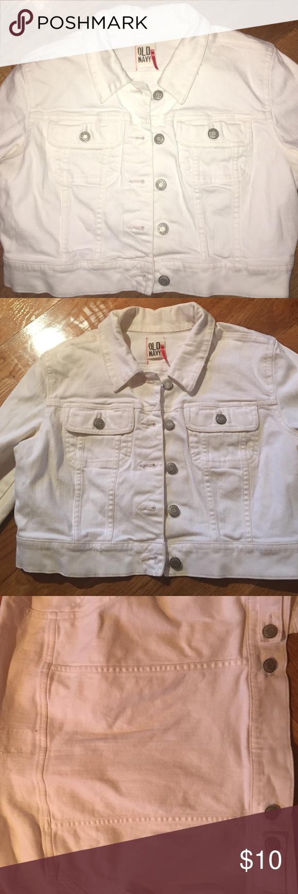 White denim jacket Pretty white denim jacket. I've maybe worn it twice. No stains Old Navy Jackets & Coats Jean Jackets