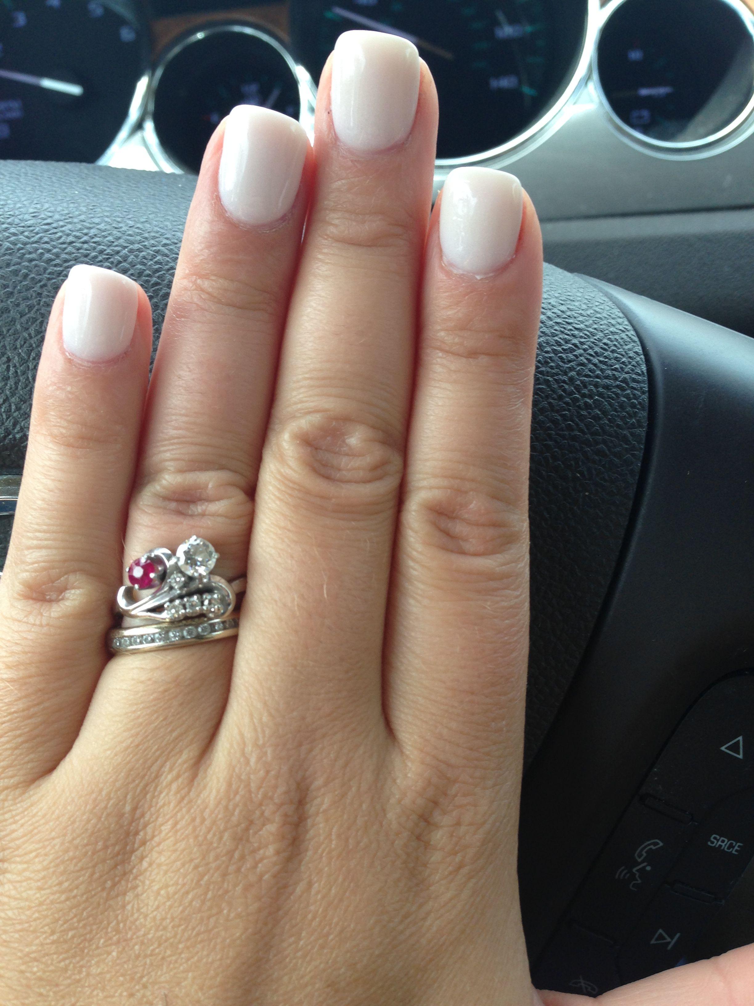 ANC white nails with Cinderella powder | Nails | Pinterest | White ...