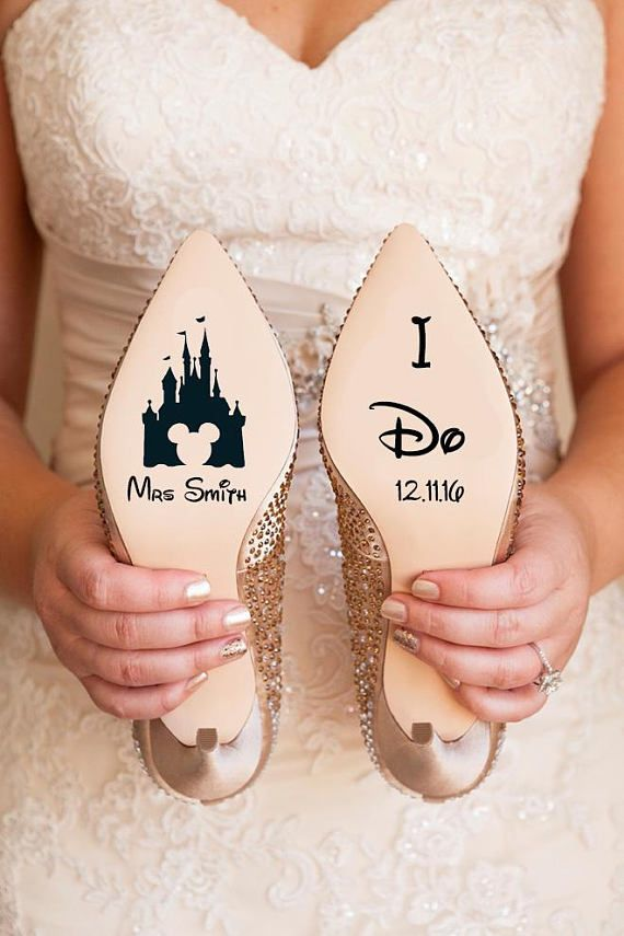 a636e09a7b17 Personalised Disney Wedding Shoe Vinyl Sticker Decal With Name   Date  Decorations Bridal shoe Bridesmaid I Do Etc