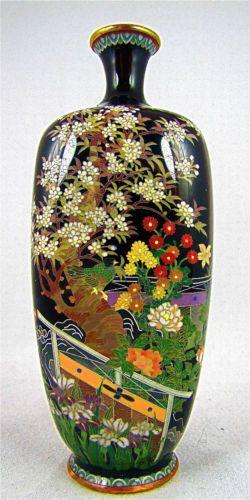 Very Fine Antique Japanese Meiji Cloisonne Vase W Garden Fences