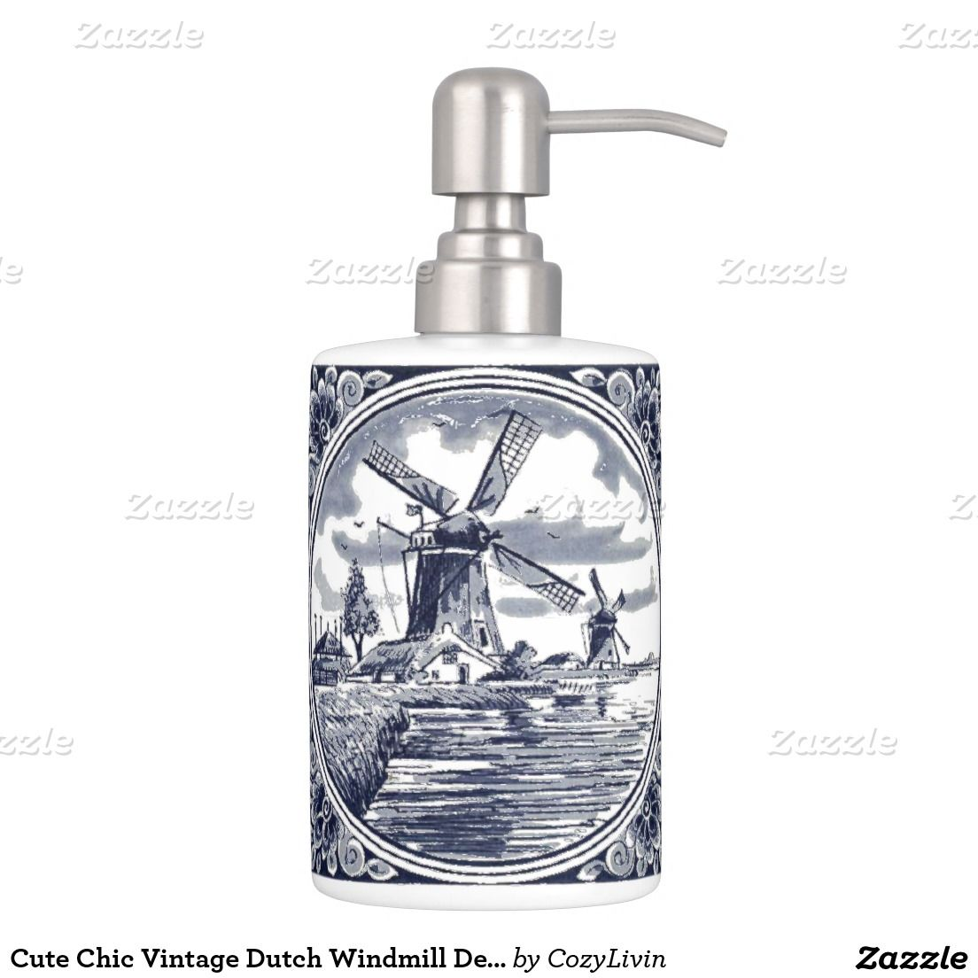 Cute Chic Vintage Dutch Windmill Delft Blue Soap Dispenser And