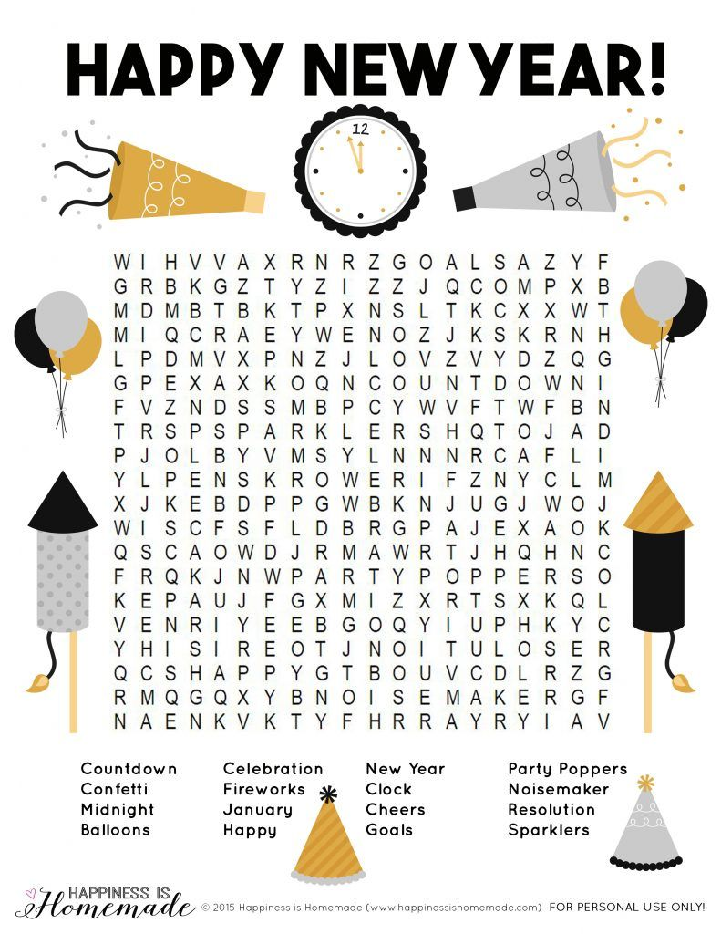 Happy New Year Word Search for Kids and Adults