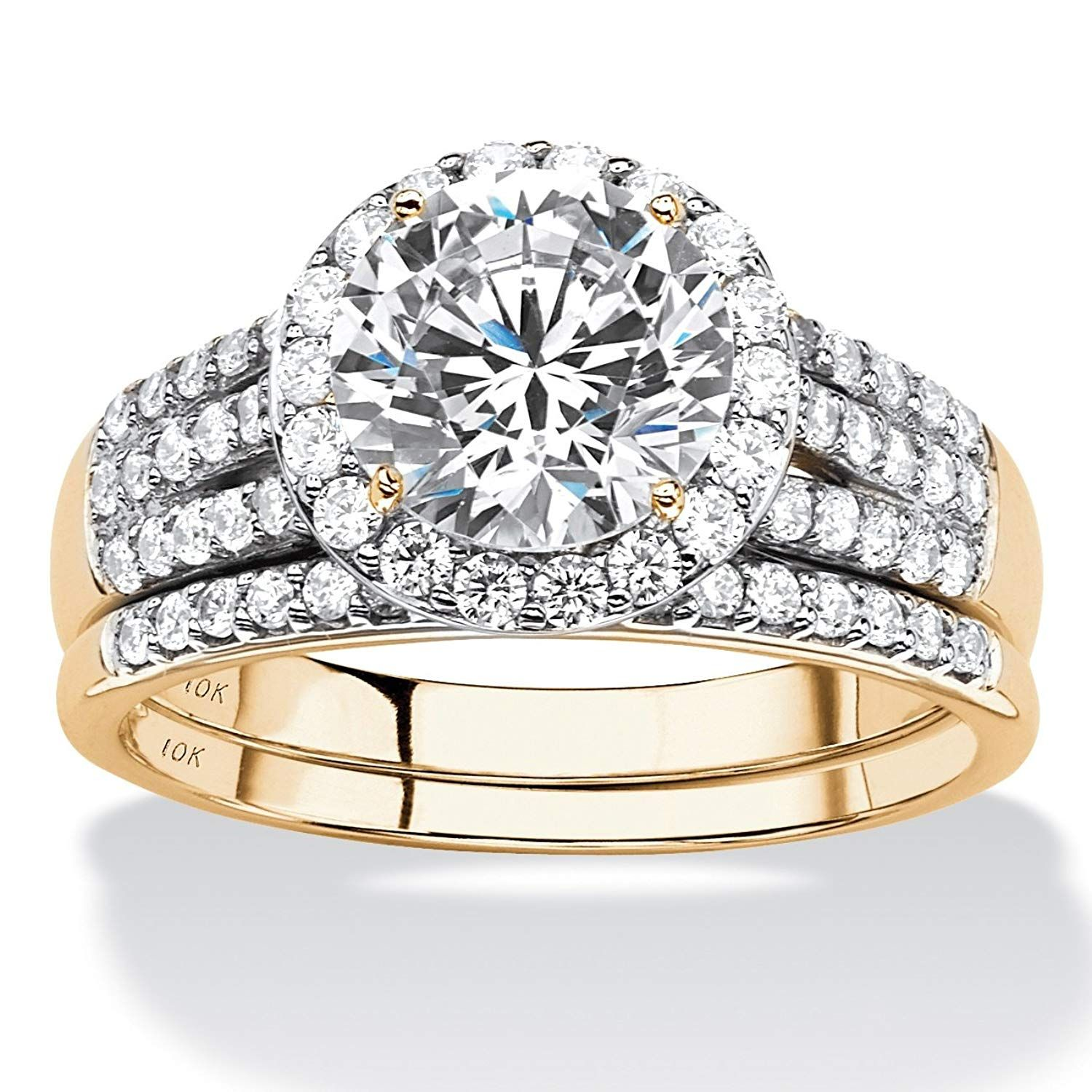 Solid 10K Yellow Gold Round Cubic Zirconia Multi Row Halo