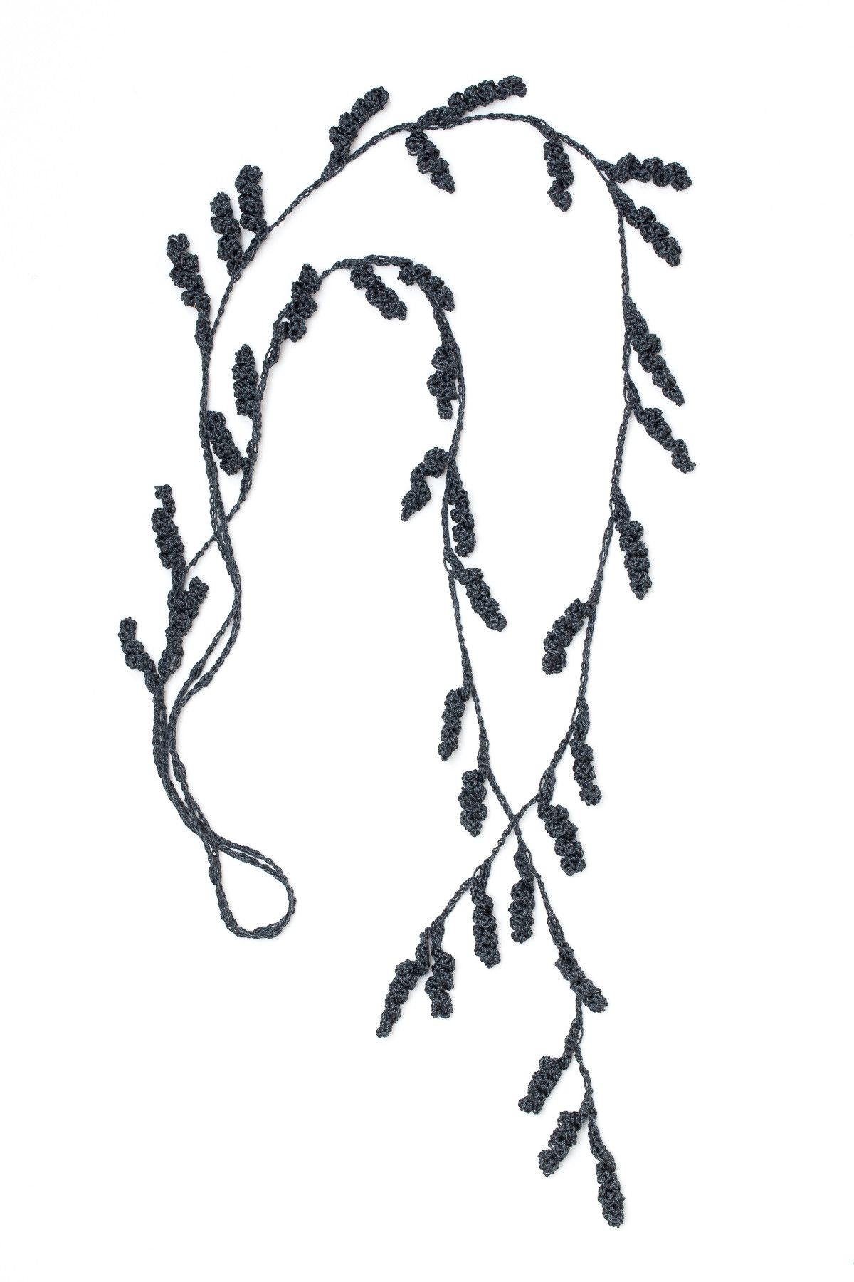 Tendril Lariat Necklace - Graphite • Crochet • Designed by Kelli ...