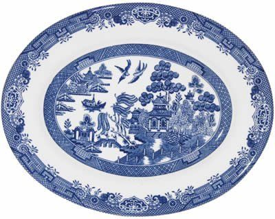 "Churchill Blue Willow Oval Dish 12.5"" by Churchill China (England). $55.70. great skill was used to achieve the utmost detail and clarity. Material: Earthenware. The Legend of Blue willow is depicted on this classic collection. Originally hand engraved in the 19th century onto copper plates,. Dishwasher & Microwave Safe. Made in England. Blue Willow has since become a timeless classic, collected all over the world. So the story of Blue Willow goes that once in ancient..."