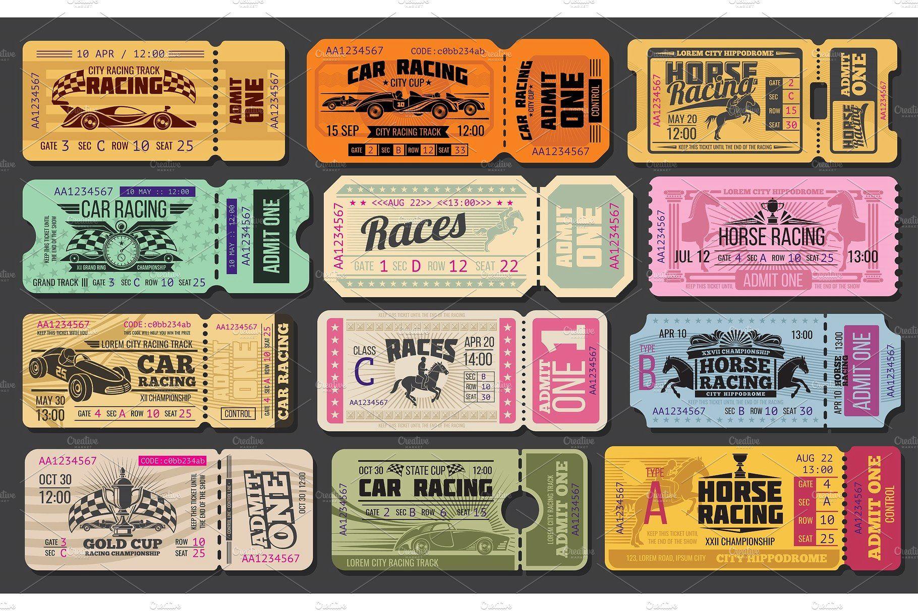Car And Horse Racing Retro Tickets Horse Racing Ticket Design Vintage Ticket