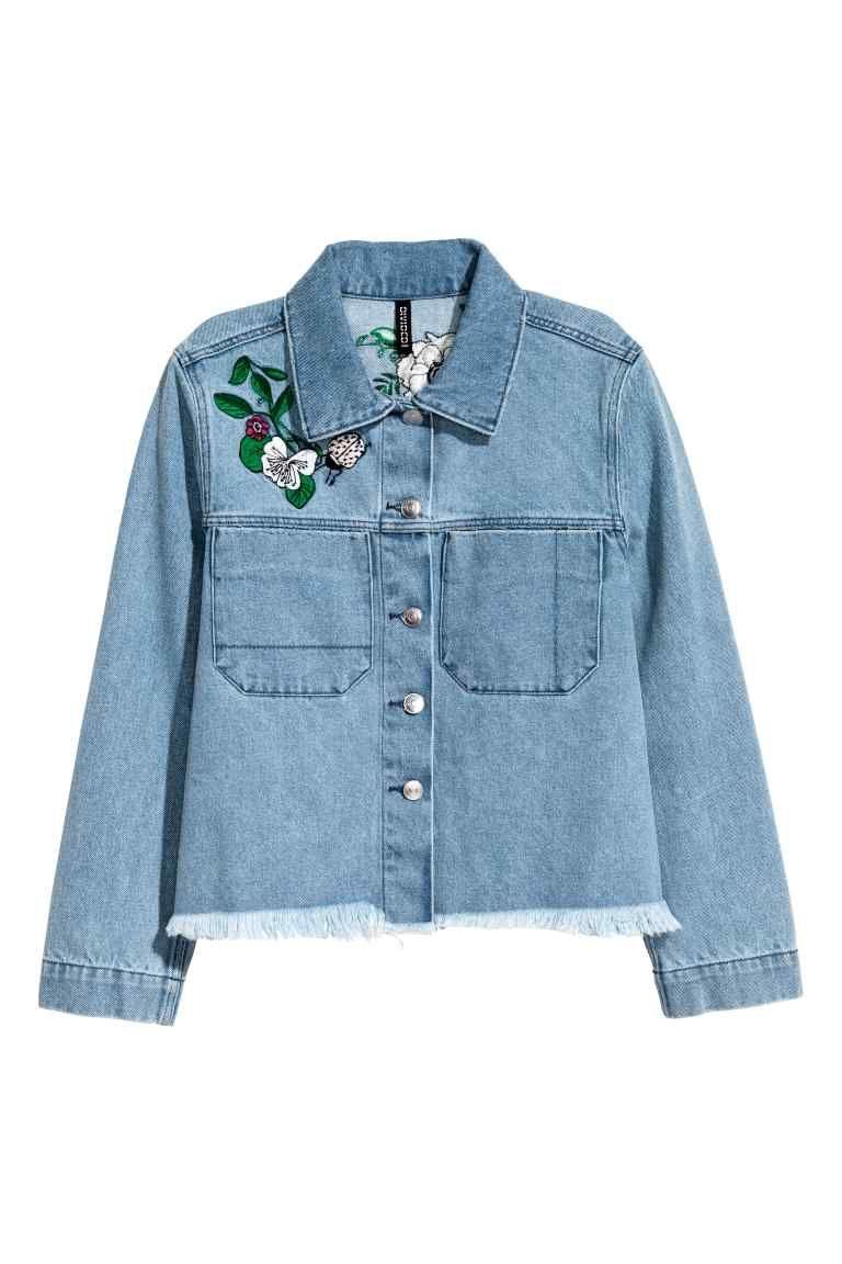 veste en jean brod e bleu denim femme h m fr. Black Bedroom Furniture Sets. Home Design Ideas