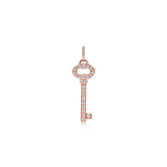 ティファニー キー ヴィンテージ オーバル キー ペンダント ダイヤモンド 18Kローズゴールド