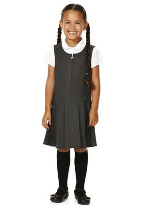 bf5018c68 F&F School Girls Permanent Pleat Pinafore for £5 from Tesco. This school  pinafore is a pretty alternative to a skirt and has a round neckline with  butterfly ...