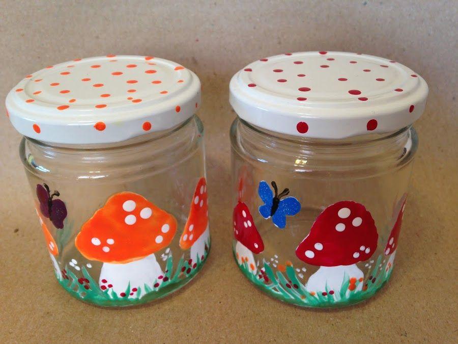 Frascos de vidrio pintados con esmaltes de uñas | Frasco de vidrio ...