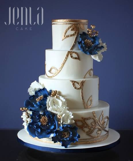 Jenla Cake With Images Wedding Cake Navy Gold Wedding Cake