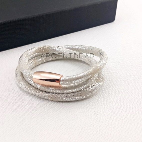 1pc 24inch length PU Eco Leather Triple Wrap Bracelet silver rose gold  Magnetic Clasp   wedding 6693cd9f1b1a